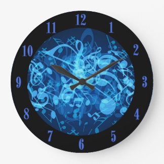 Blue Glow Music Notes Pattern Wall Clock