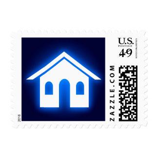 blue glow real estate postage stamp