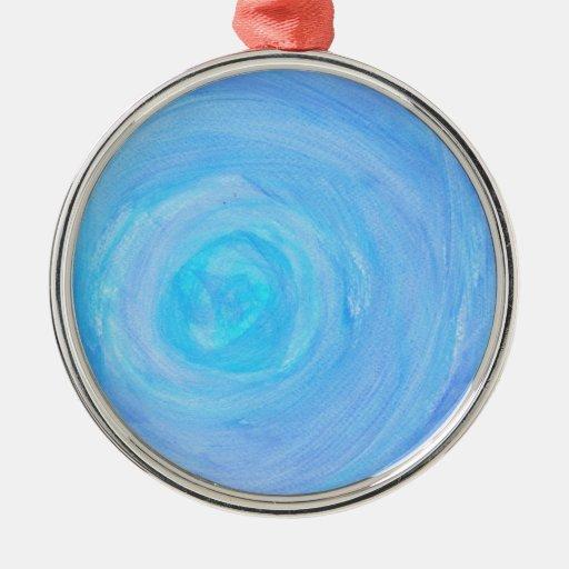Blue Glow Round Metal Christmas Ornament