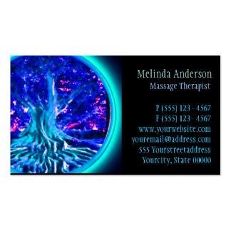 Blue Glow Tree of Life Business Card Templates