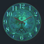 "Blue Glow Yin Yang with Tree of Life Large Clock<br><div class=""desc"">Blue Yin Yang with Tree of Life</div>"