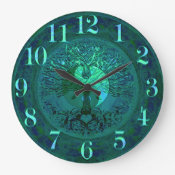 Blue Glow Yin Yang with Tree of Life Large Clock (<em>$31.65</em>)