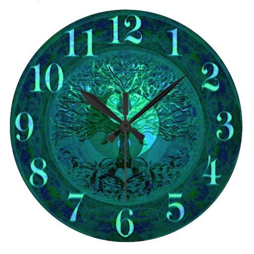 Blue Glow Yin Yang with Tree of Life Large Clock