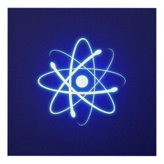 Blue Glowing Atom Symbol | Nerd Gifts Panel Wall Art
