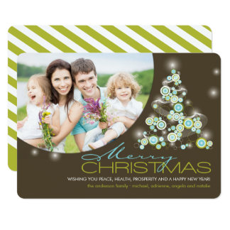 Blue Glowing Christmas Tree Holiday Photo Card