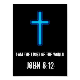 Blue Glowing Cross Poster With Scripture