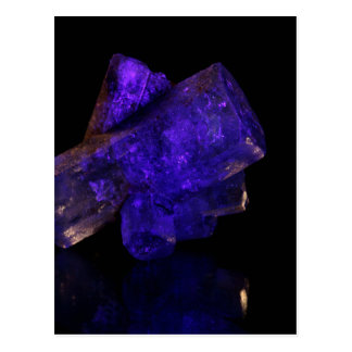 Blue glowing crystal postcard