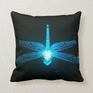 Blue Glowing Dragonfly Throw Pillow Cushion