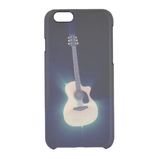 Blue Glowing Guitar Clear iPhone 6/6S Case