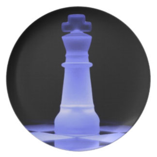 Blue Glowing King Chess Piece Melamine Plate