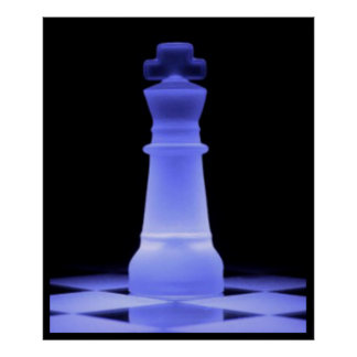 Blue Glowing King Chess Piece Poster