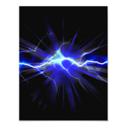 Blue glowing lightning or electricity card