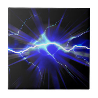 Blue glowing lightning or electricity ceramic tile