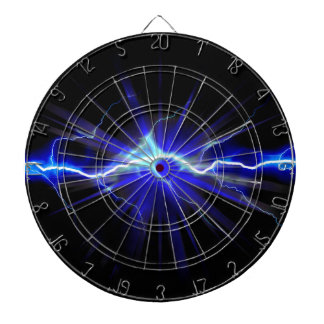 Blue glowing lightning or electricity dartboard