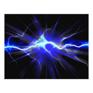 "Blue glowing lightning or electricity 8.5"" x 11"" flyer"