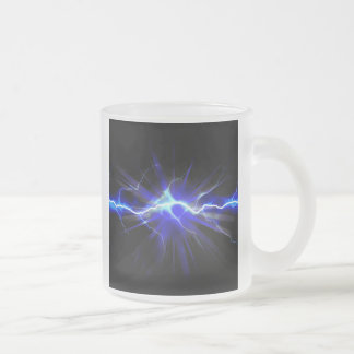 Blue glowing lightning or electricity frosted glass coffee mug