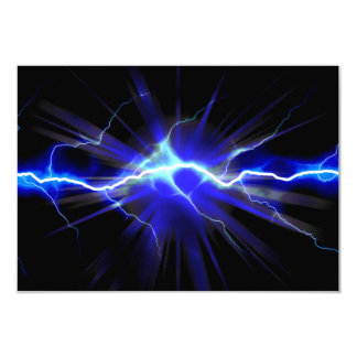 Blue glowing lightning or electricity 3.5x5 paper invitation card