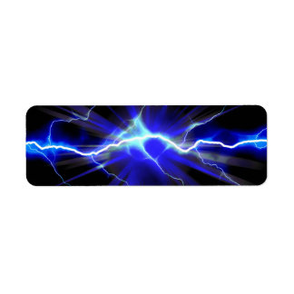 Blue glowing lightning or electricity label