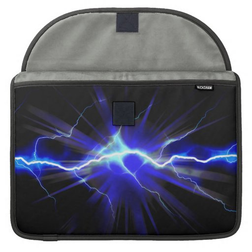 Blue glowing lightning or electricity sleeve for MacBook pro