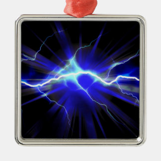 Blue glowing lightning or electricity christmas ornaments