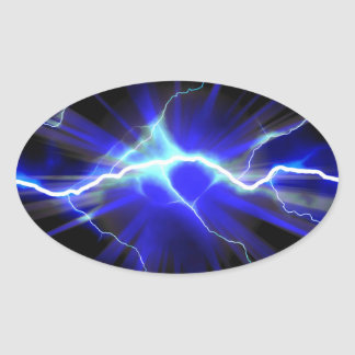 Blue glowing lightning or electricity oval sticker