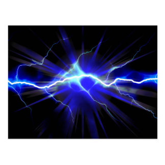 Blue glowing lightning or electricity postcard
