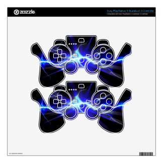 Blue glowing lightning or electricity PS3 controller skins