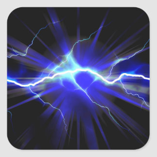 Blue glowing lightning or electricity square sticker