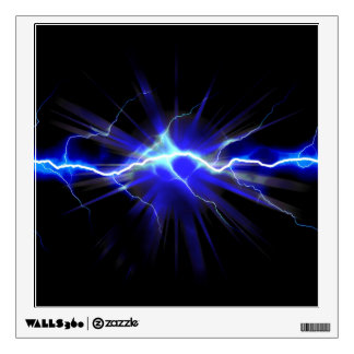 Blue glowing lightning or electricity wall decal