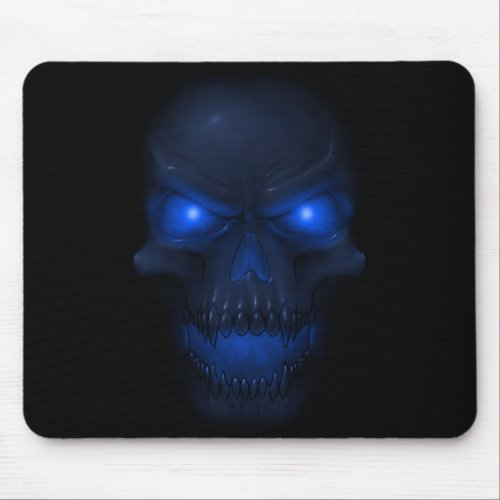 Blue Glowing Skull Mouse Pad
