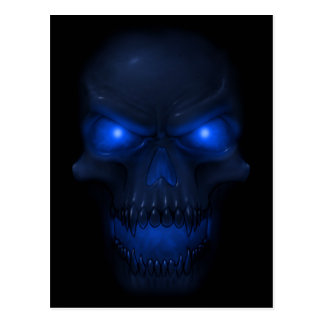 Blue Glowing Skull Postcard