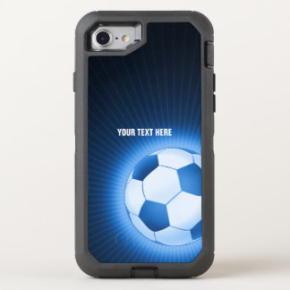 Blue Glowing Soccer | Football Sport OtterBox Defender iPhone 8/7 Case