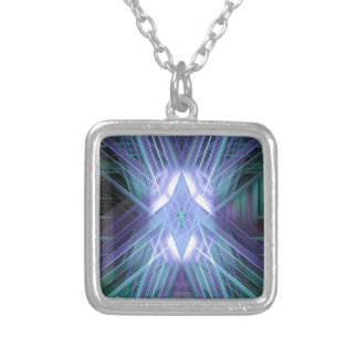 Blue glowing star silver plated necklace