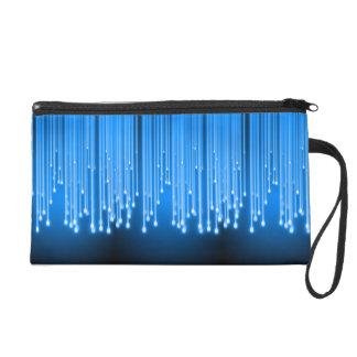 Blue glowing stars falling wristlet purses
