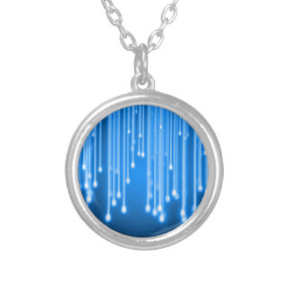 Blue glowing stars falling round pendant necklace