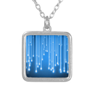 Blue glowing stars falling square pendant necklace
