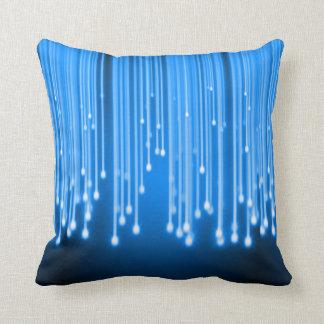Blue glowing stars falling throw pillow