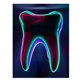 Blue Glowing Tooth Dental Art Postcard