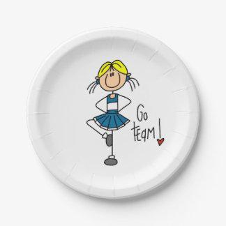 Blue Go Team Cheerleader Paper Plate
