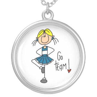 Blue Go Team Cheerleader Round Pendant Necklace