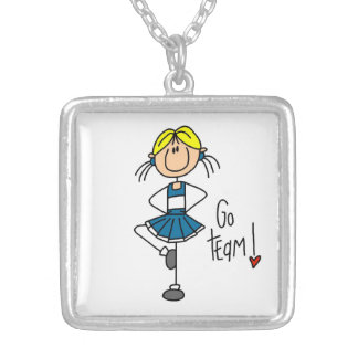 Blue Go Team Cheerleader Silver Plated Necklace