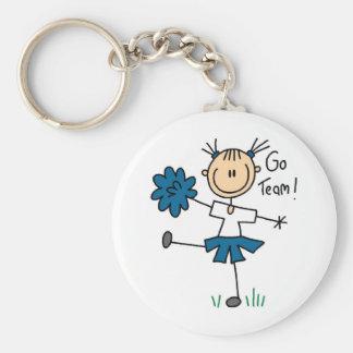 Blue Go Team Cheerleader T-shirts and Gifts Basic Round Button Keychain