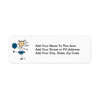 Blue Go Team Cheerleader T-shirts and Gifts Return Address Label