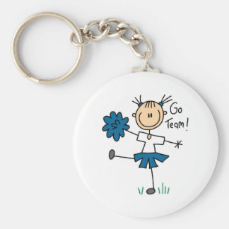 Blue Go Team Cheerleading Tshirts and Gifts Basic Round Button Keychain