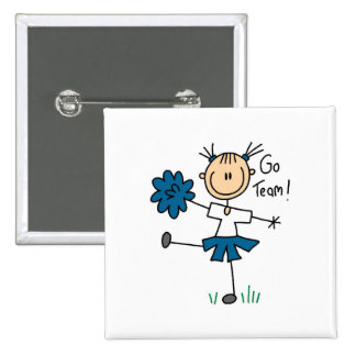 Blue Go Team Cheerleading Tshirts and Gifts Button
