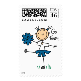 Blue Go Team Cheerleading Tshirts and Gifts Postage Stamps