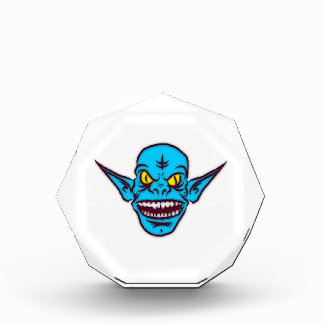 Blue Goblin Monster Head Acrylic Award