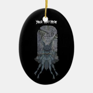 Blue Goblin Tombstone Halloween Ornament