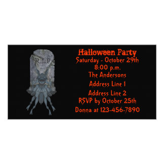Blue Goblin Tombstone Halloween Party Invite
