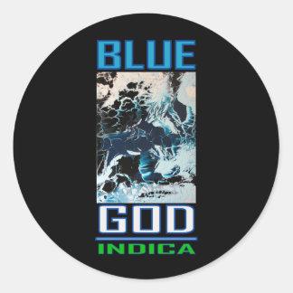 BLUE GOD INDICA ROUND STICKERS